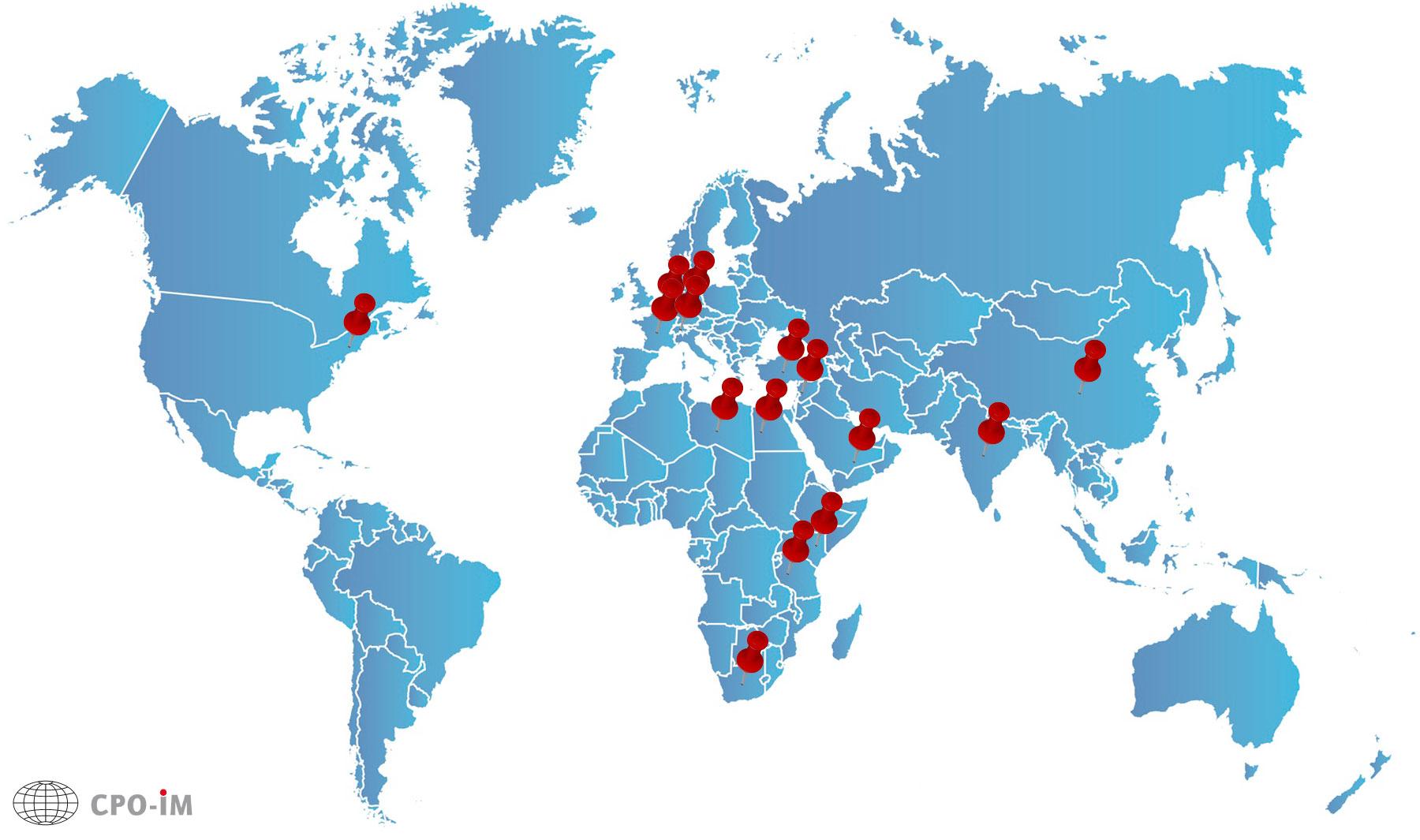 CPO-IM Worldmap mit einigen unserer Einsatzstandorte